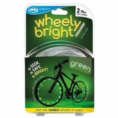 2x groene fietsverlichting/spaakverlichting led lichtslangen
