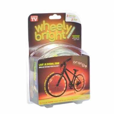 2x oranje fietsverlichting/spaakverlichting led lichtslangen