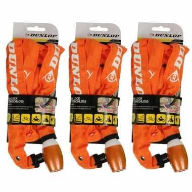 3x fiets kettingslot oranje
