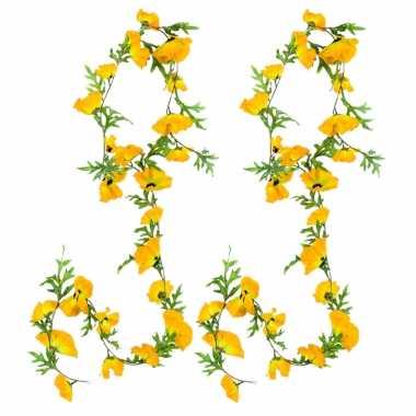 3x stuks bloemen slinger 180 cm met gele klaprozen bloemen