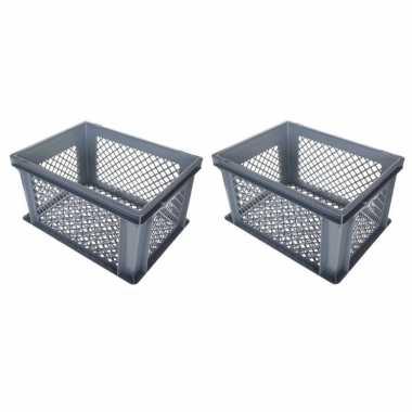3x stuks grijze kunststof fietskratten/opbergkratten 40 x 30 x 22 cm