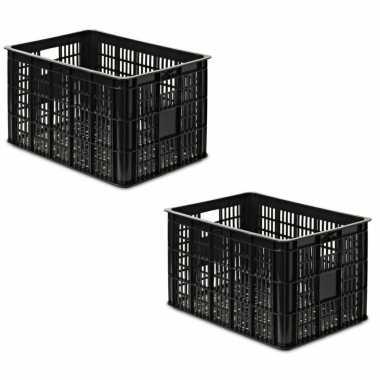 3x stuks zwarte kunststof fietskratten/opbergkratten 48 x 35 x 26 cm