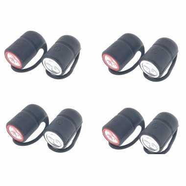 4x fietslampjes fietsverlichting set waterdicht voorlicht / achterlicht 3 leds