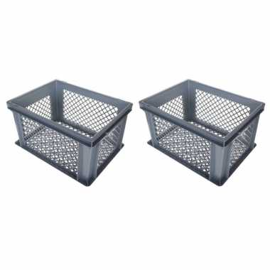 4x stuks grijze kunststof fietskratten/opbergkratten 40 x 30 x 22 cm