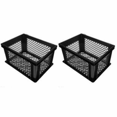 5x stuks zwarte kunststof fietskratten/opbergkratten 40 x 30 x 22 cm