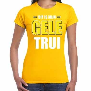 Dit is mijn gele trui fun tekst t-shirt geel voor dames