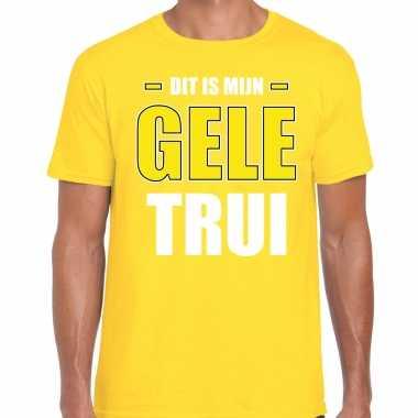 Dit is mijn gele trui fun tekst t-shirt geel voor heren