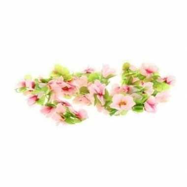 Fiets stuur versiering bloemenslinger roze groen 220 cm
