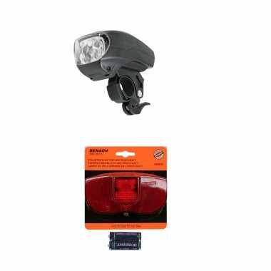 Fietsverlichting set universeel fietskoplamp en achterlicht met reflector