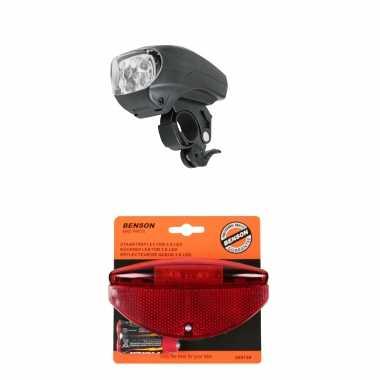 Fietsverlichting set universele fietskoplamp en achterlicht met staartstaartreflector