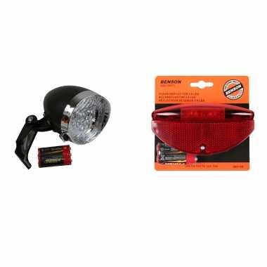 Fietsverlichting universeel klassieke koplamp en achterlicht met staartstaartreflector