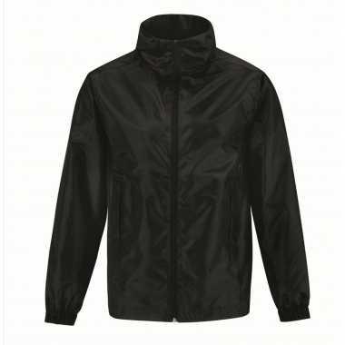 Gevoerde regenjas windjas voor heren zwart