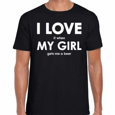 I love it when my girl gets me a beer cadeau t-shirt zwart heren