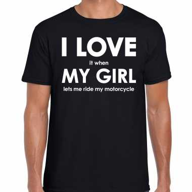 I love it when my girl lets me ride my motercycle cadeau t-shirt zwart heren