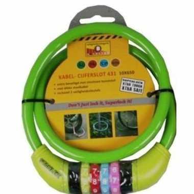 Kabelslot met cijferslot groen 10 x 650 mm