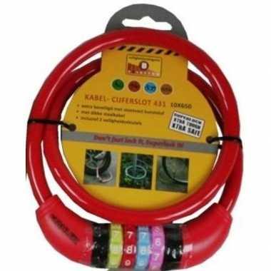 Kabelslot met cijferslot rood 10 x 650 mm