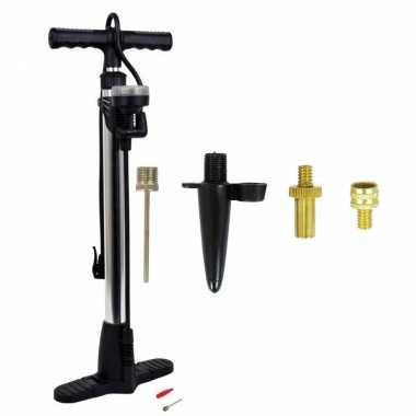 Luxe fietspomp met manometer inclusief 4-delige nippelset