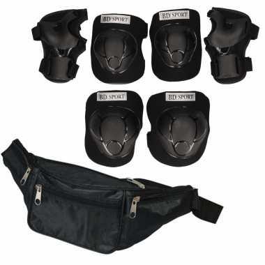 Set van heuptasje zwart 29 cm en valbescherming maat m - 6 tot 8 jaar