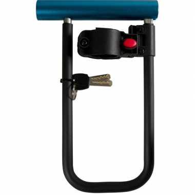 Zwart/blauw beugelslot/fietsslot 22,5 cm