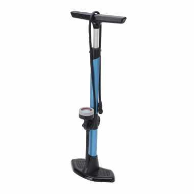 Zwart/blauwe fietspomp staand met drukmeter 67 cm