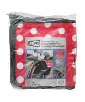 Fietstas dubbel boodschappentas fiets zwart en rood met witte stippen 32 liter