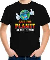 Funny emoticon t shirt safe the planet zwart voor kids