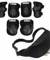 Set van heuptasje buideltasje zwart 38 cm en valbescherming maat l 9 tot 10 jaar