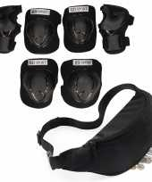Set van heuptasje buideltasje zwart 38 cm en valbescherming maat m 6 tot 8 jaar