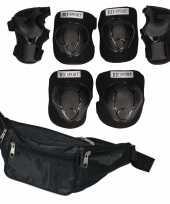 Set van heuptasje zwart 29 cm en valbescherming maat m 6 tot 8 jaar